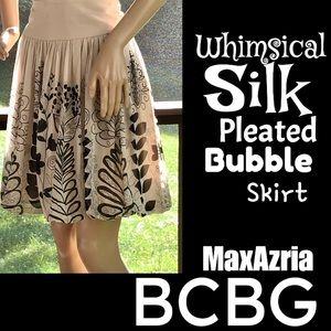 ⭐️HP⭐️BCBG▪️Whimsical Silk Pleated Bubble Skirt